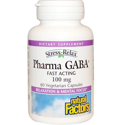 Купить Stress Relax, Pharma GABA, 100 мг, 60 растительных капсул