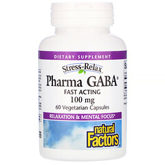 Natural Factors, 緩解壓力,Pharma GABA,100 毫克,60 粒素食膠囊