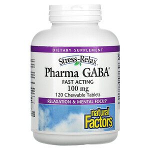 Natural Factors, Stress Relax, Pharma GABA, 100 mg, 120 Chewable Tablets'