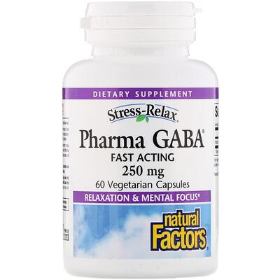 Купить Natural Factors Stress-Relax, Pharma GABA, 250 мг, 60 вегетарианских капсул