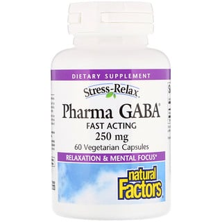 Natural Factors, Stress-Relax, Pharma GABA, 250 mg, 60 Vegetarian Capsules
