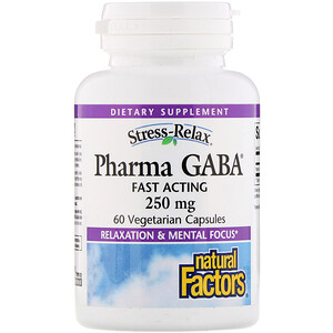 Натурал Факторс, Stress-Relax, Pharma GABA, 250 mg, 60 Vegetarian Capsules отзывы покупателей