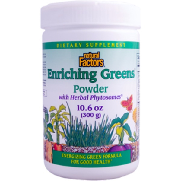 Natural Factors, Enriching Greens Powder with Herbal  Phytosomes, 10.6 oz (300 g) (Discontinued Item)