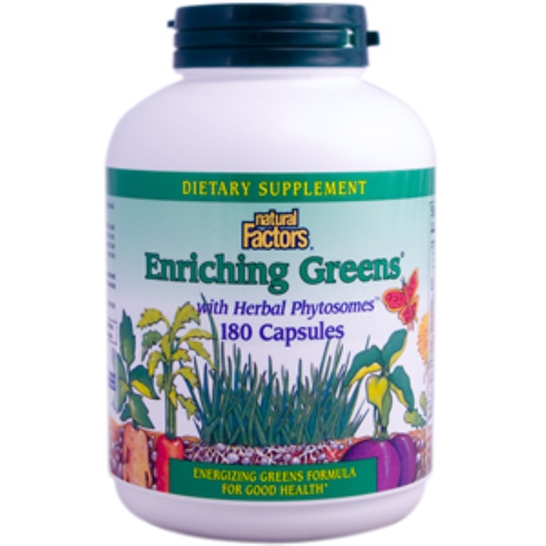 Natural Factors, Enriching Greens with Herbal Phytosomes, 180 Capsules (Discontinued Item)