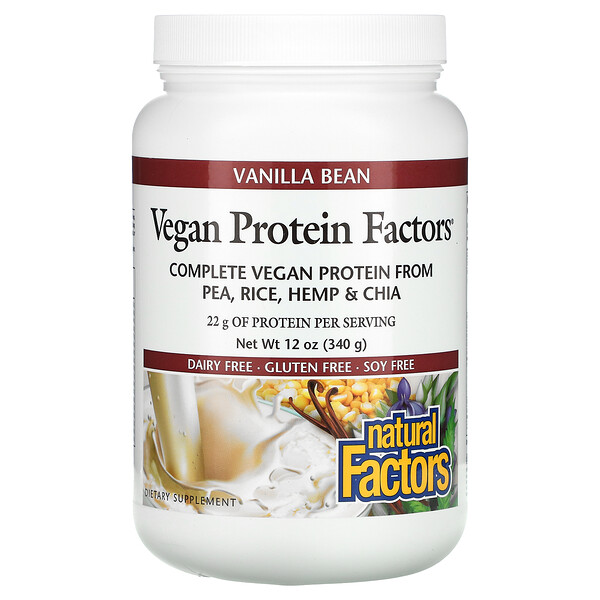 Vegan Protein Factors, Vanilla Bean, 12 oz (340 g)