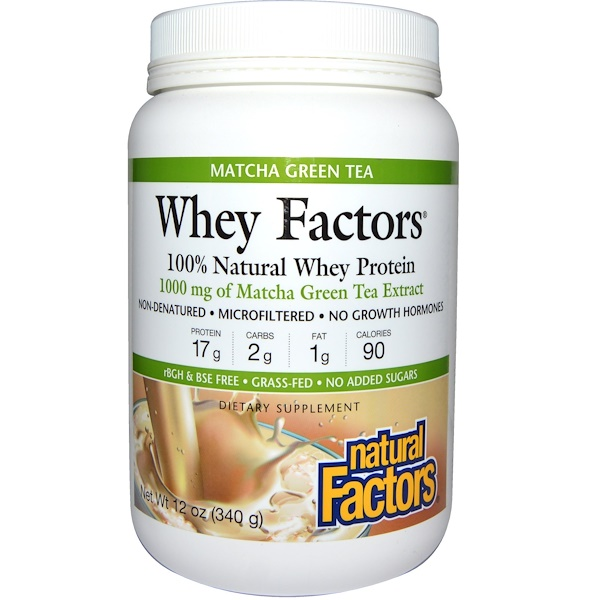 Natural Factors, Whey Factors, 100% Natural Whey Protein, Matcha Green Tea, 12 oz (340 g) (Discontinued Item)