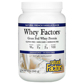 Natural Factors, Whey Factors, Grass Fed Whey Protein, Natural French Vanilla, 12 oz (340 g)
