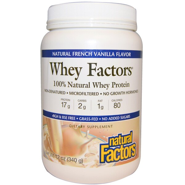 Natural Factors, Whey Factors, 100% Natural Whey Protein, Natural French Vanilla Flavor, 12 oz (340 g) (Discontinued Item)