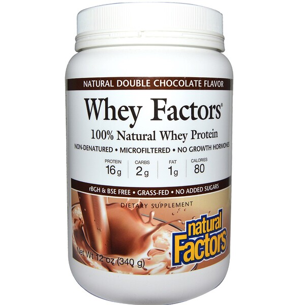 Natural Factors, Whey Factors, 100% Natural Whey Protein, Natural Double Chocolate Flavor, 12 oz (340 g) (Discontinued Item)