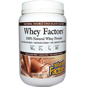 Натурал Факторс, Whey Factors, 100% Natural Whey Protein, Natural Double Chocolate Flavor, 12 oz (340 g) отзывы покупателей
