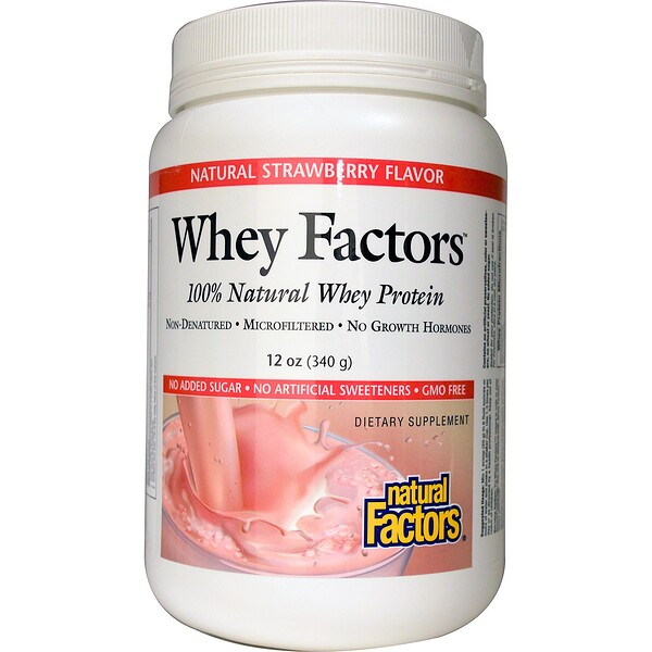 Natural Factors, Whey Factors, 100% Natural Whey Protein, Natural Strawberry Flavor, 12 oz (340 g) (Discontinued Item)