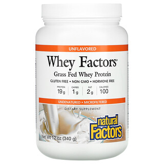 Natural Factors, Whey Factors, Grass Fed Whey Protein, Unflavored, 12 oz (340 g)