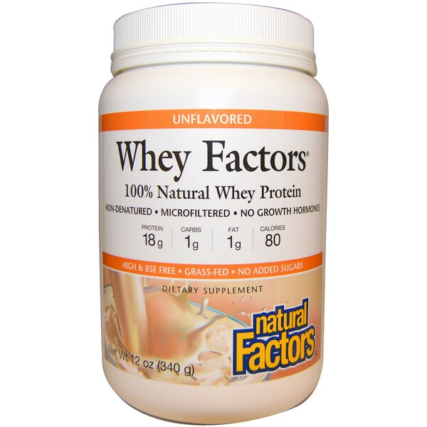 Natural Factors, Whey Factors, 100% Natural Whey Protein, Unflavored, 12 oz (340 g) (Discontinued Item)