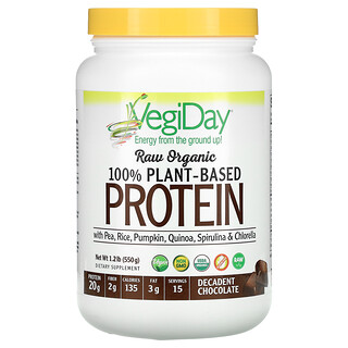 Natural Factors, Raw Organic 100% Plant-Based Protein, Decadent Chocolate, 1.2 lb (550 g)