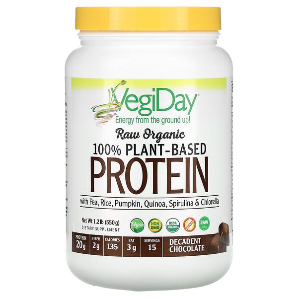 Raw Organic 100% Plant-Based Protein, Decadent Chocolate, 1.2 lb (550 g)