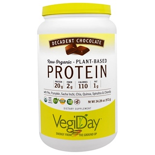Natural Factors, VegiDay, Raw Organic Plant-Based Protein, Decadent Chocolate, 2.14 lbs (972 g)