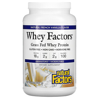 Natural Factors, Whey Factors, Grass Fed Whey Protein, Natural French Vanilla Flavor, 2 lb (907 g)
