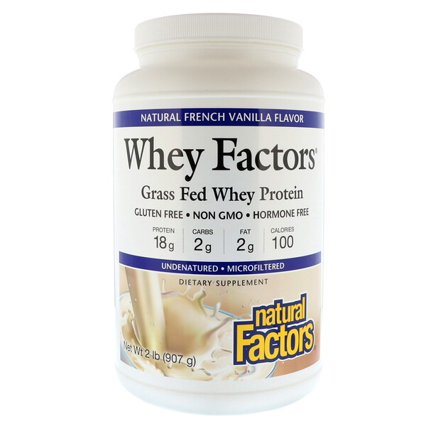 Whey Factors, Grass Fed Whey Protein, Natural French Vanilla Flavor, 2 lbs (907 g)