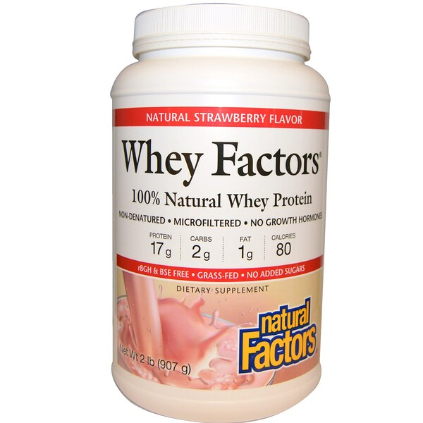 Natural Factors, Whey Factors, 100% Natural Whey Protein, Natural Strawberry Flavor, 2 lbs (907 g) (Discontinued Item)