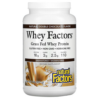 Natural Factors, Whey Factors, Grass Fed Whey Protein, Natural Double Chocolate, 2 lb (907 g)