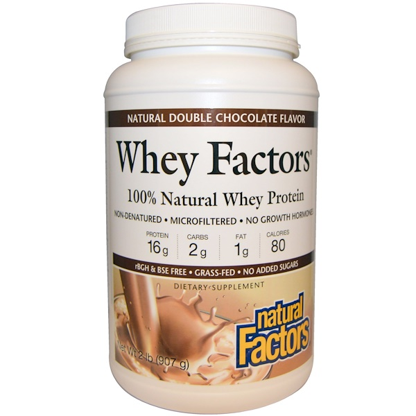 Natural Factors, Whey Factors, 100% Natural Whey Protein, Natural Double Chocolate Flavor, 2 lbs (907 g)