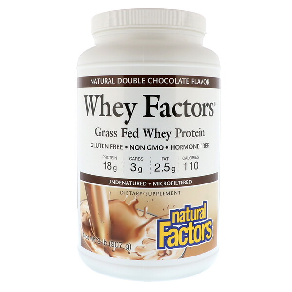 Natural Factors, Whey Factors, Grass Fed Whey Protein, Natural Double Chocolate , 2 lbs (907 g)