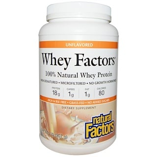 Natural Factors, Whey Factors, 100% Natural Whey Protein, Unflavored, 2 lbs (907 g)