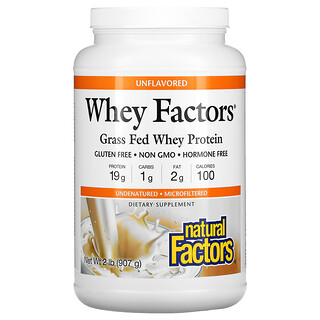 Natural Factors, Whey Factors, Grass Fed Whey Protein, Unflavored, 2 lb (907 g)