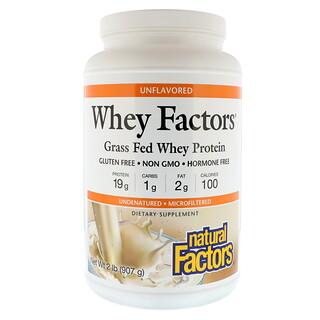 Natural Factors, Whey Factors, сывороточный протеин, полученный от вскормленных травой коров, без вкусовых добавок, 907 г