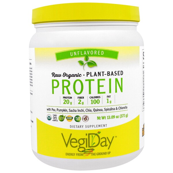 Natural Factors, VegiDay, Raw Organic Plant-Based Protein, Unflavored , 13.09 oz (371 g) (Discontinued Item)