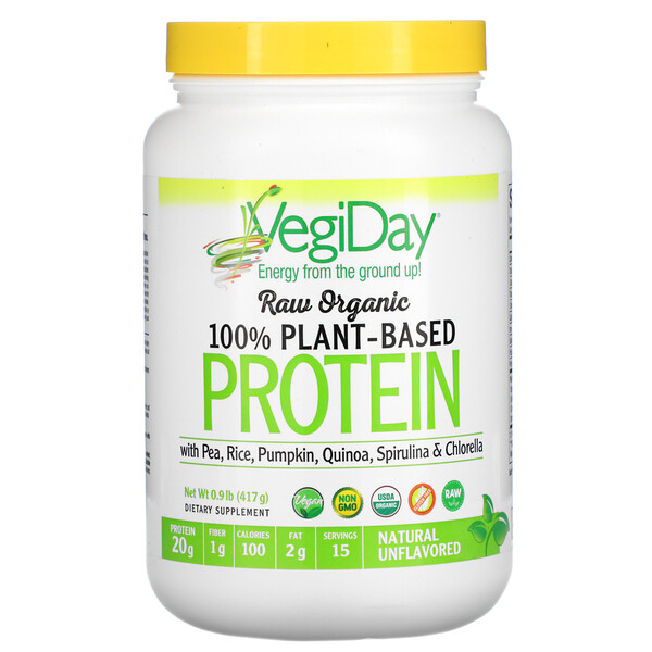 Raw Organic 100% Plant-Based Protein, Natural Unflavored, 0.9 lb (417 g)