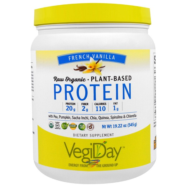 Natural Factors, Raw Organic, Plant-Based Protein, French Vanilla, 1.2 lbs (545 g) (Discontinued Item)