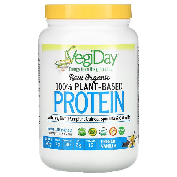 Raw Organic 100% Plant-Based Protein, French Vanilla, 1.2 lb (547.5 g)