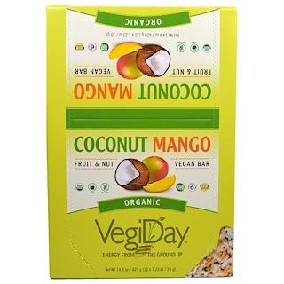 """Natural Factors, """"ОвощеДень"""", органические веганские батончики со вкусом кокоса и манго, 12 батончиков по 1,23 унции (35 г)"""