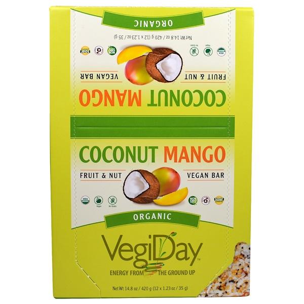 Natural Factors, VegiDay, Organic Vegan Bar, Coconut Mango, 12 Bars, 1.23 oz (35 g) Each (Discontinued Item)