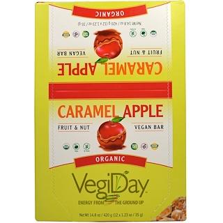 Natural Factors, VegiDay, Organic Vegan Bar, Caramel Apple, 12 Bars, 1.23 oz (35 g) Each