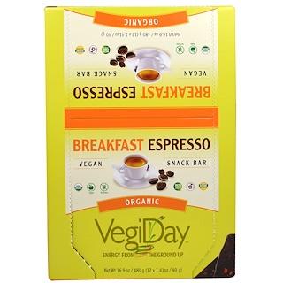 Natural Factors, VegiDay, Organic Snack Bar, Breakfast Espresso, 12 Bars, 1.41 oz (40 g) Each