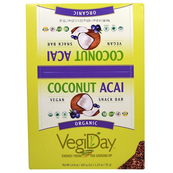 Natural Factors, VegiDay, Organic Snack Bar, Coconut Acai, 12 Bars, 1.23 oz (35 g) Each (Discontinued Item)