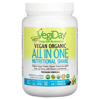 Natural Factors, VegiDay, Vegan Organic All In One Nutritional Shake, French Vanilla, 15.2 oz (430 g)