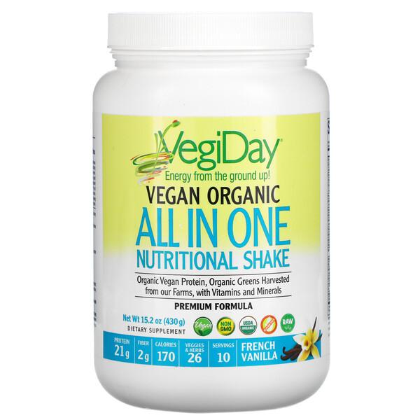 VegiDay, Vegan Organic All In One Nutritional Shake, French Vanilla, 15.2 oz (430 g)