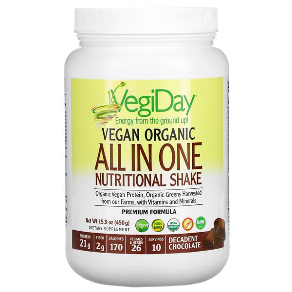 VegiDay, Vegan Organic All In One Nutritional Shake, Decadent Chocolate, 15.9 oz (450 g)