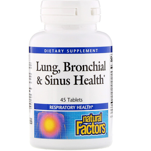 Natural Factors, Salud Pulmonar, Bronquial & Senos Nasales, 45 Tabletas