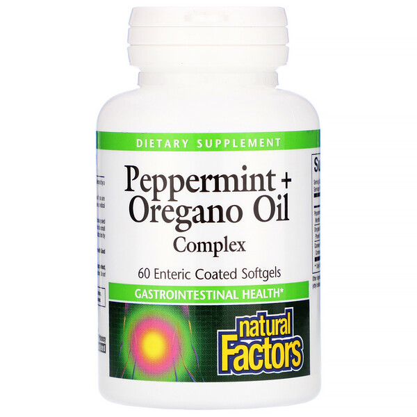 Natural Factors, Peppermint + Oregano Oil Complex, 60 Enteric Coated Softgels