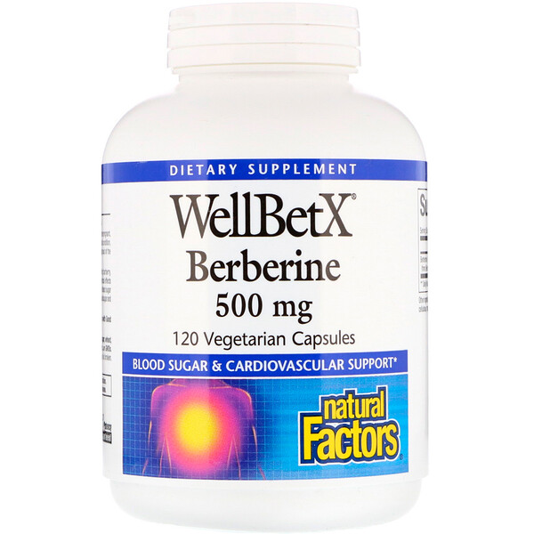 Natural Factors, WellBetX, berberina, 500 mg., 120 cápsulas aptas para vegetarianos