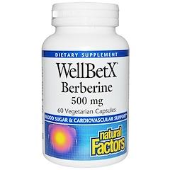 Natural Factors, WellBetX بربارين، 500 ملغ، 60 أغلفة الخضروات