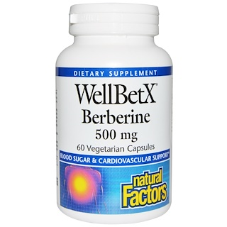 Natural Factors, WellBetX Berberine, 500 mg, 60 베지 캡슐