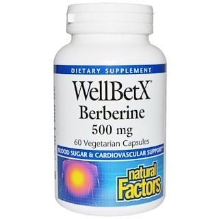 Natural Factors, WellBetX berberina, 500 mg, 60 cápsulas vegetales