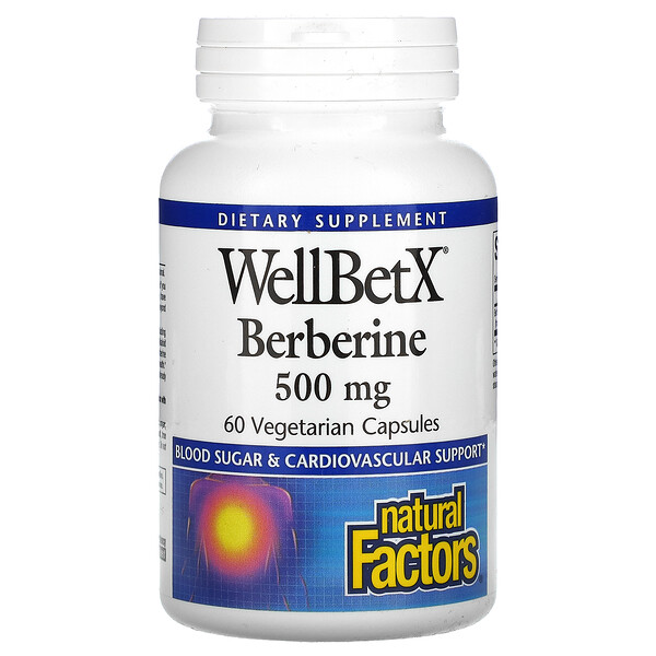 Natural Factors, WellBetX Berberine, 500 mg, 60 Cápsulas Vegetais