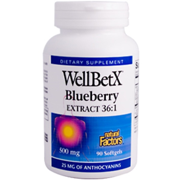 Natural Factors, WellBetX Blueberry Extract 36:1, 500 mg, 90 Softgels (Discontinued Item)