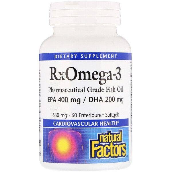 Natural Factors, RxOmega-3, 630 mg, 60 Enteripure Softgels (Discontinued Item)